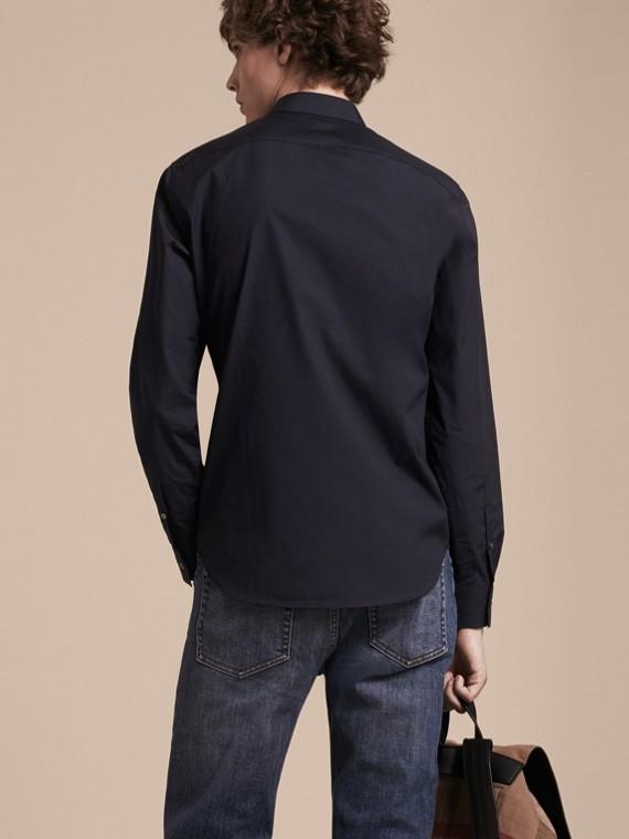 Navy Camicia in cotone stretch con dettagli con motivo check Navy - cell image 2
