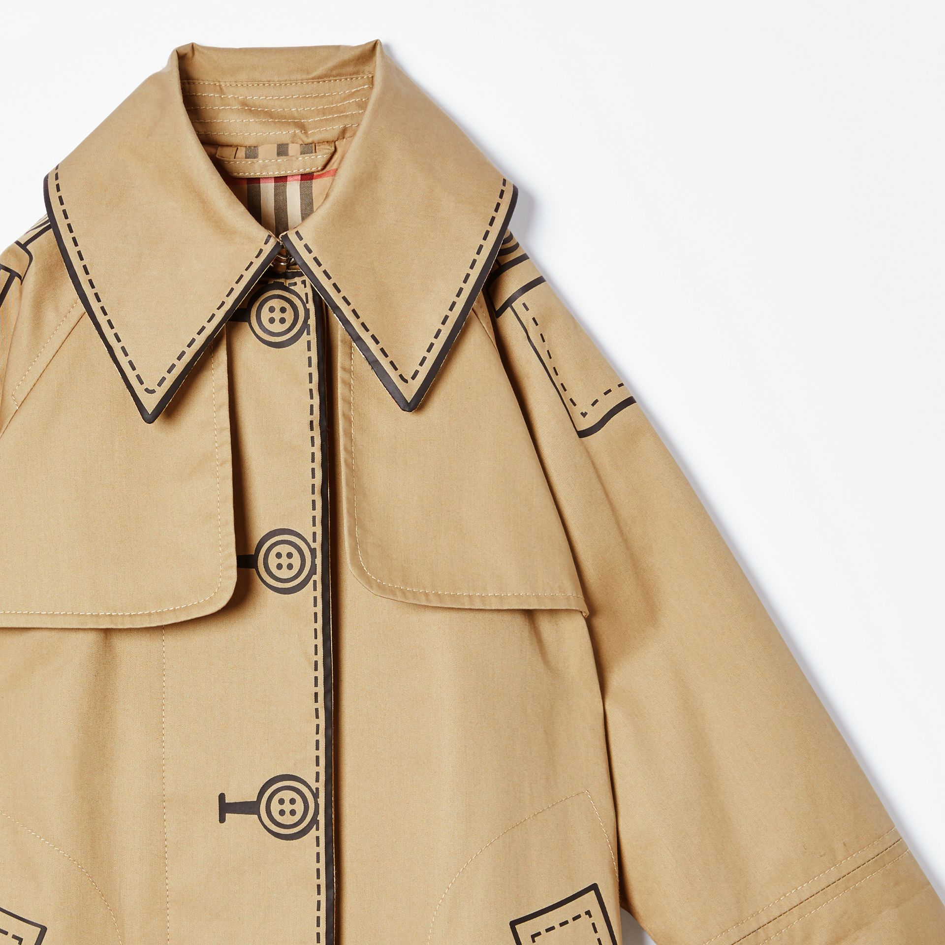 Trompe L'Oeil Cotton Swing Coat in Honey | Burberry - gallery image 4