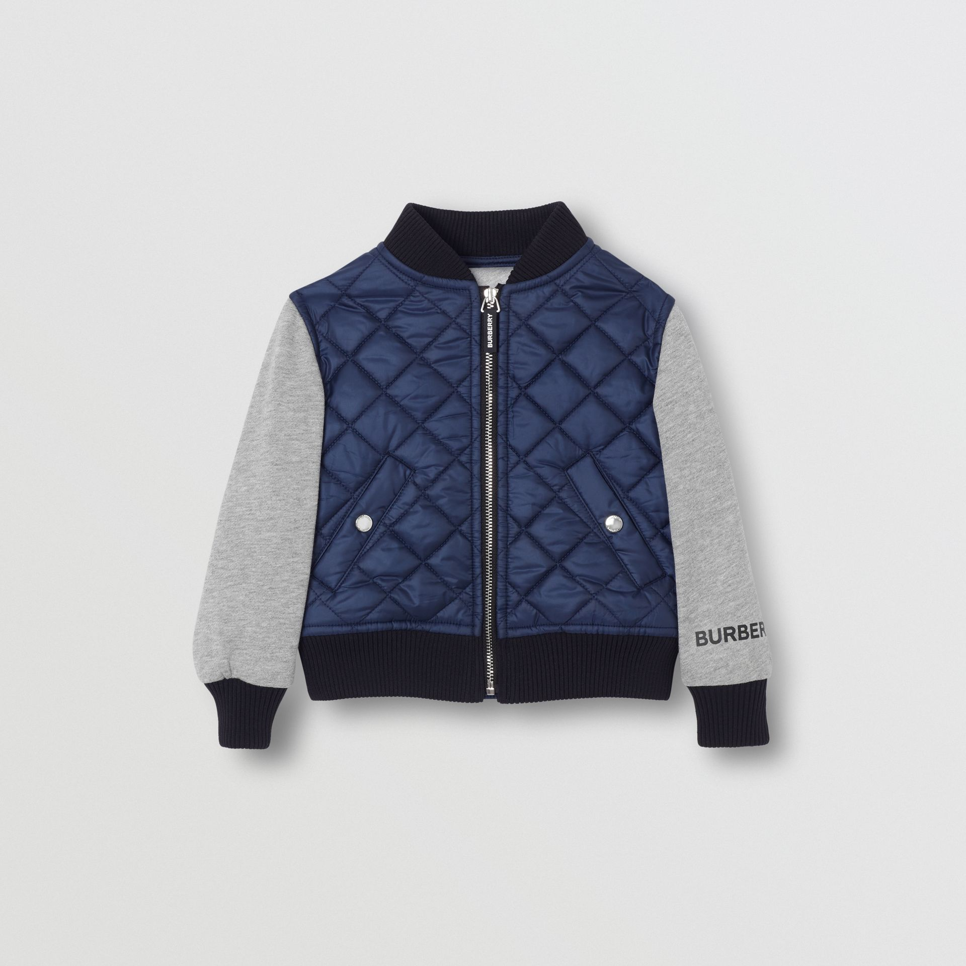 Contrast Sleeve Diamond Quilted Bomber Jacket in Grey Melange - Children | Burberry - gallery image 0