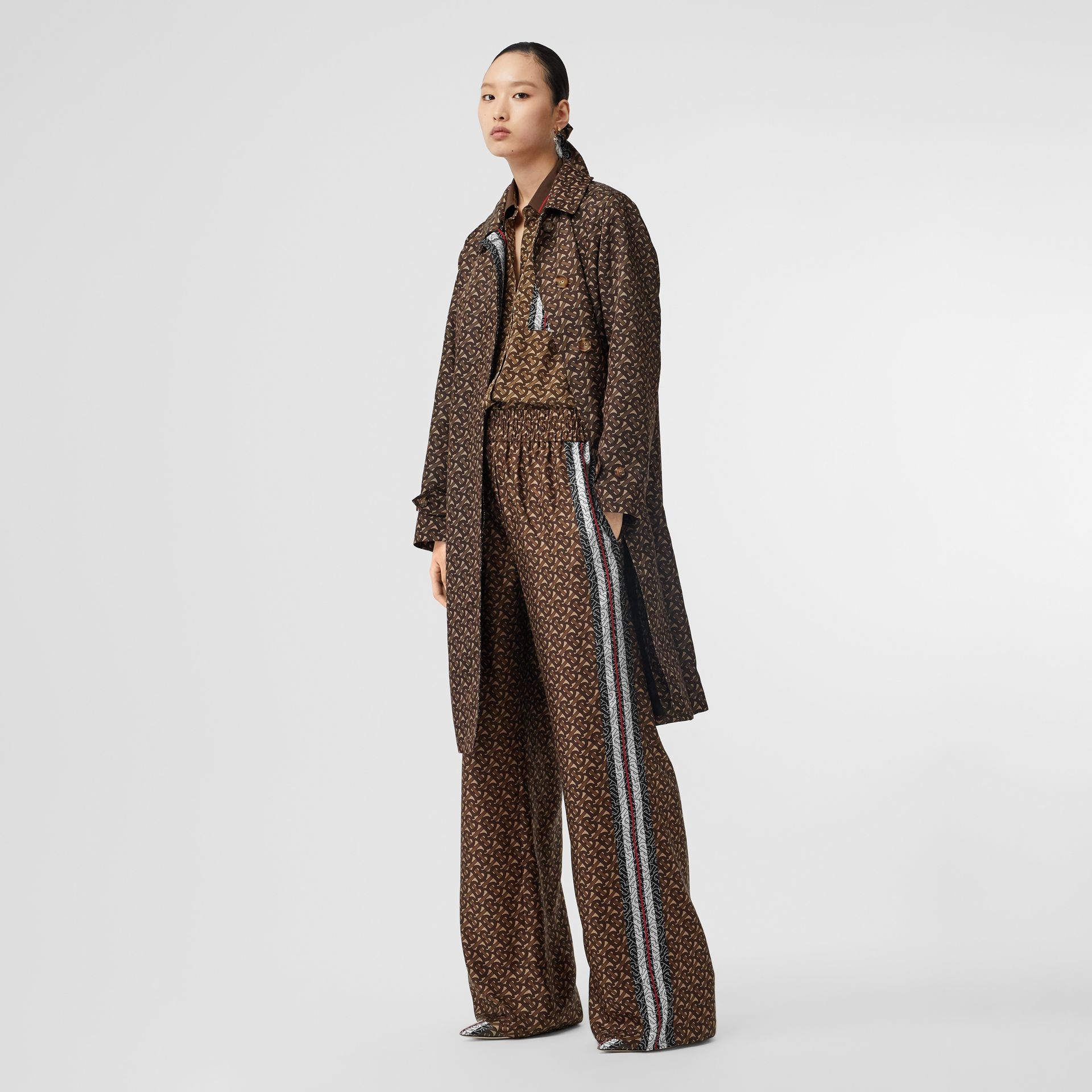 Monogram Stripe Print Nylon Car Coat in Bridle Brown - Women | Burberry Canada - gallery image 0