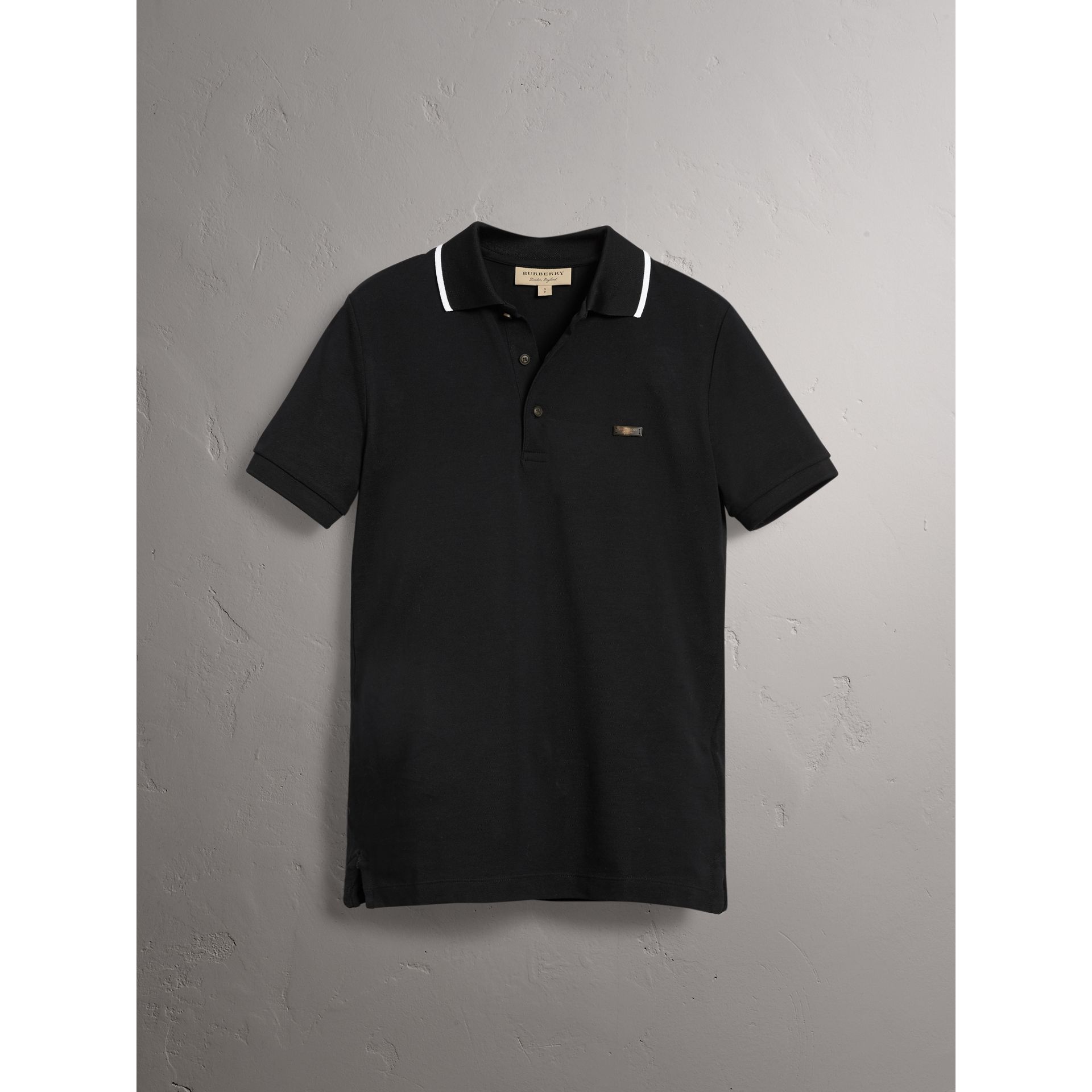 Tipped Collar Cotton Piqué Polo Shirt in Black - Men | Burberry - gallery image 4