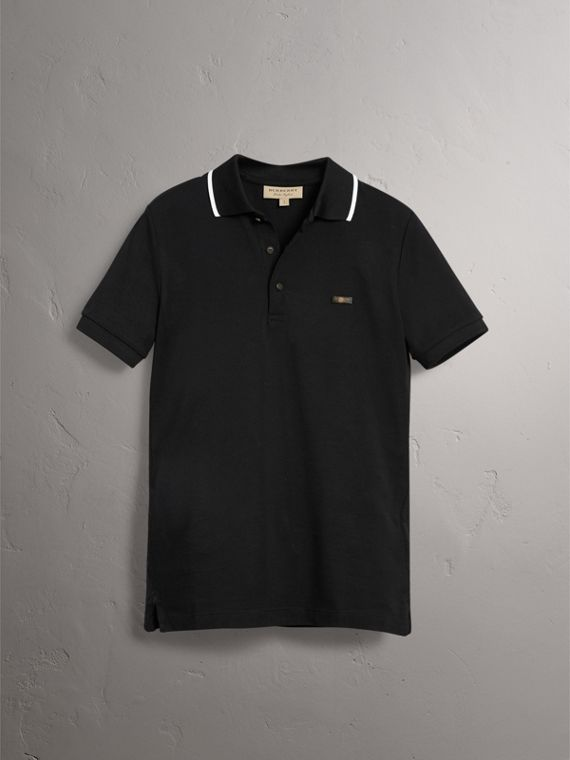 Tipped Collar Cotton Piqué Polo Shirt in Black - Men | Burberry - cell image 3
