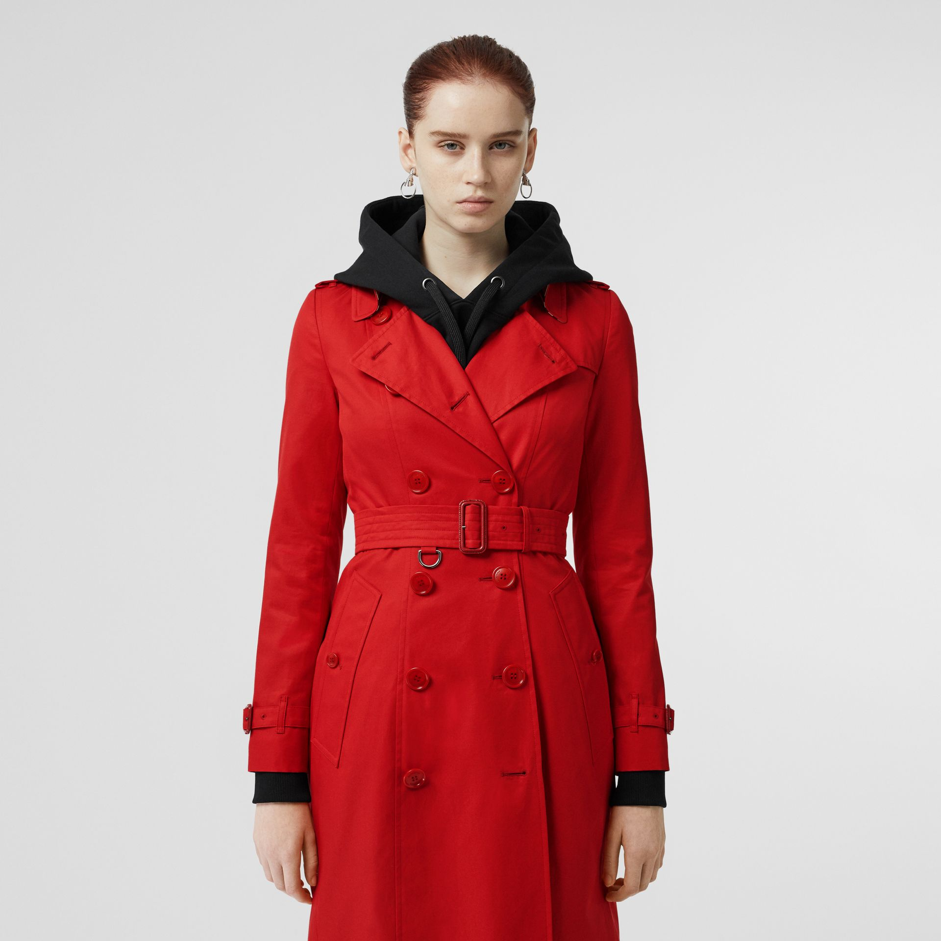 Cotton Gabardine Trench Coat in Bright Red - Women | Burberry - gallery image 5