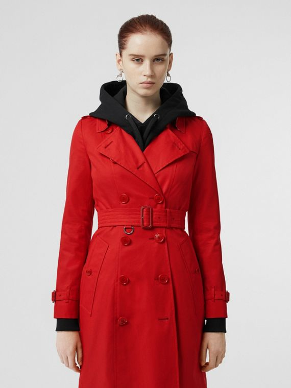 Cotton Gabardine Trench Coat in Bright Red