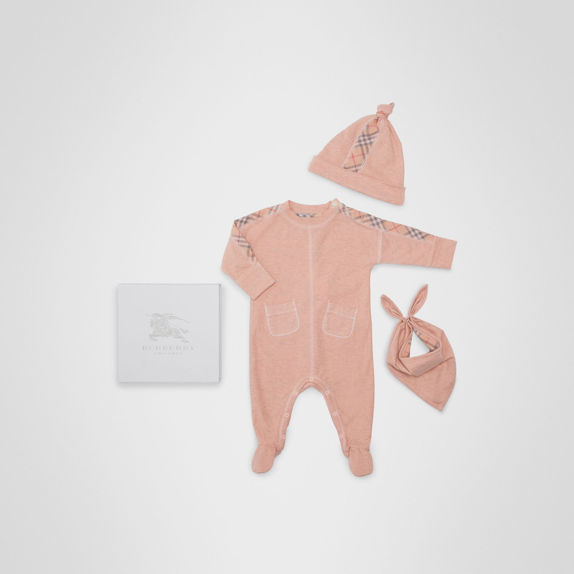 Check Cotton Three-piece Baby Gift Set in Light Rose - Children | Burberry Hong Kong - gallery image 0