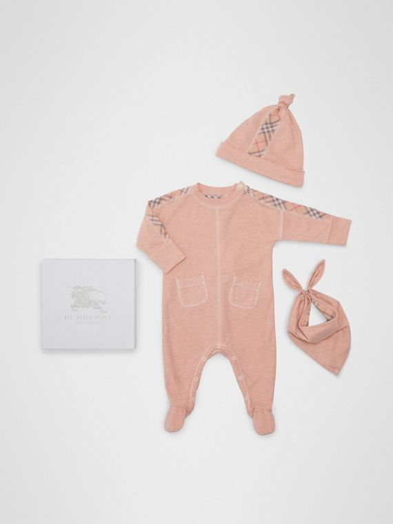 Check Cotton Three-piece Baby Gift Set in Light Rose