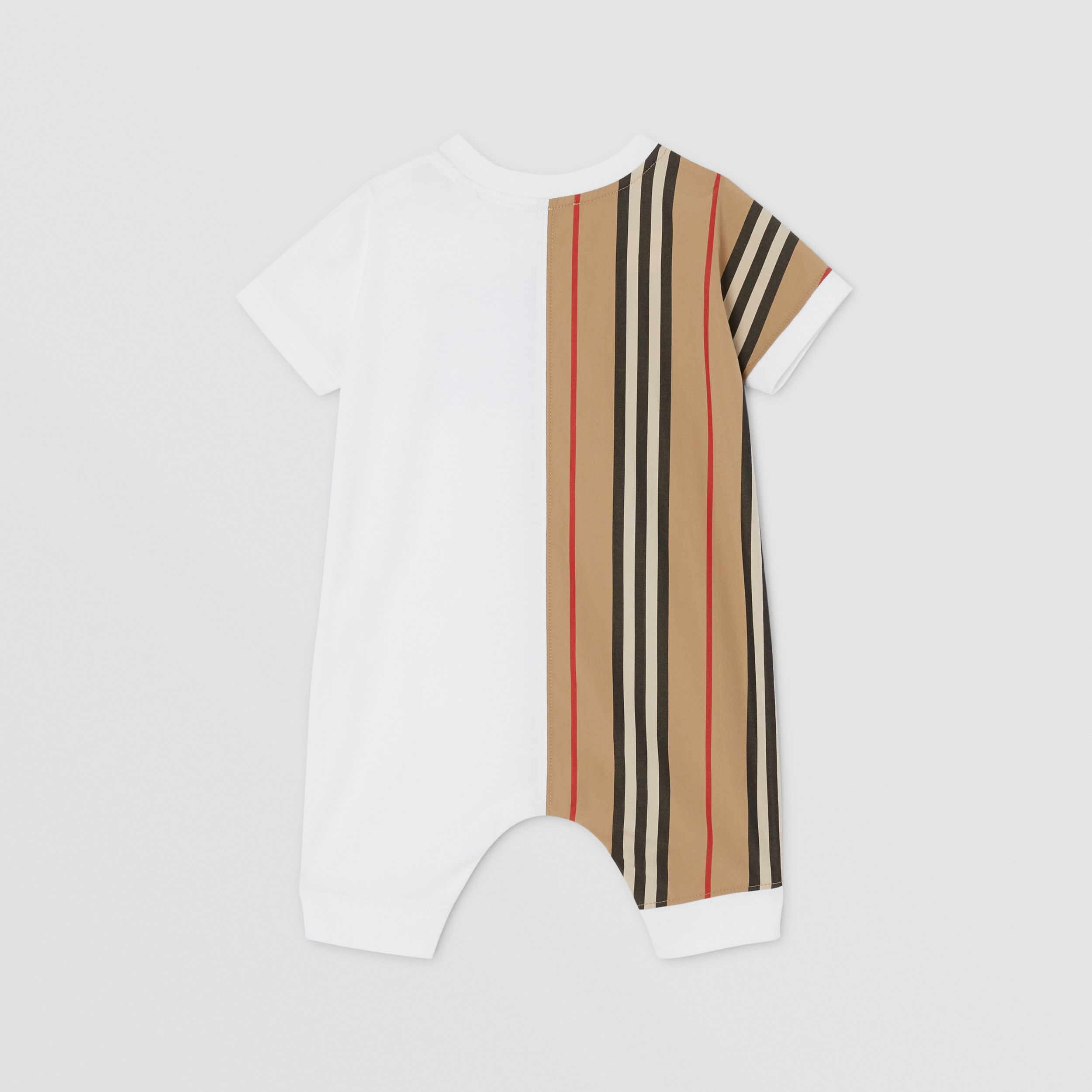 Icon Stripe Panel Cotton Playsuit in White - Children | Burberry - 4