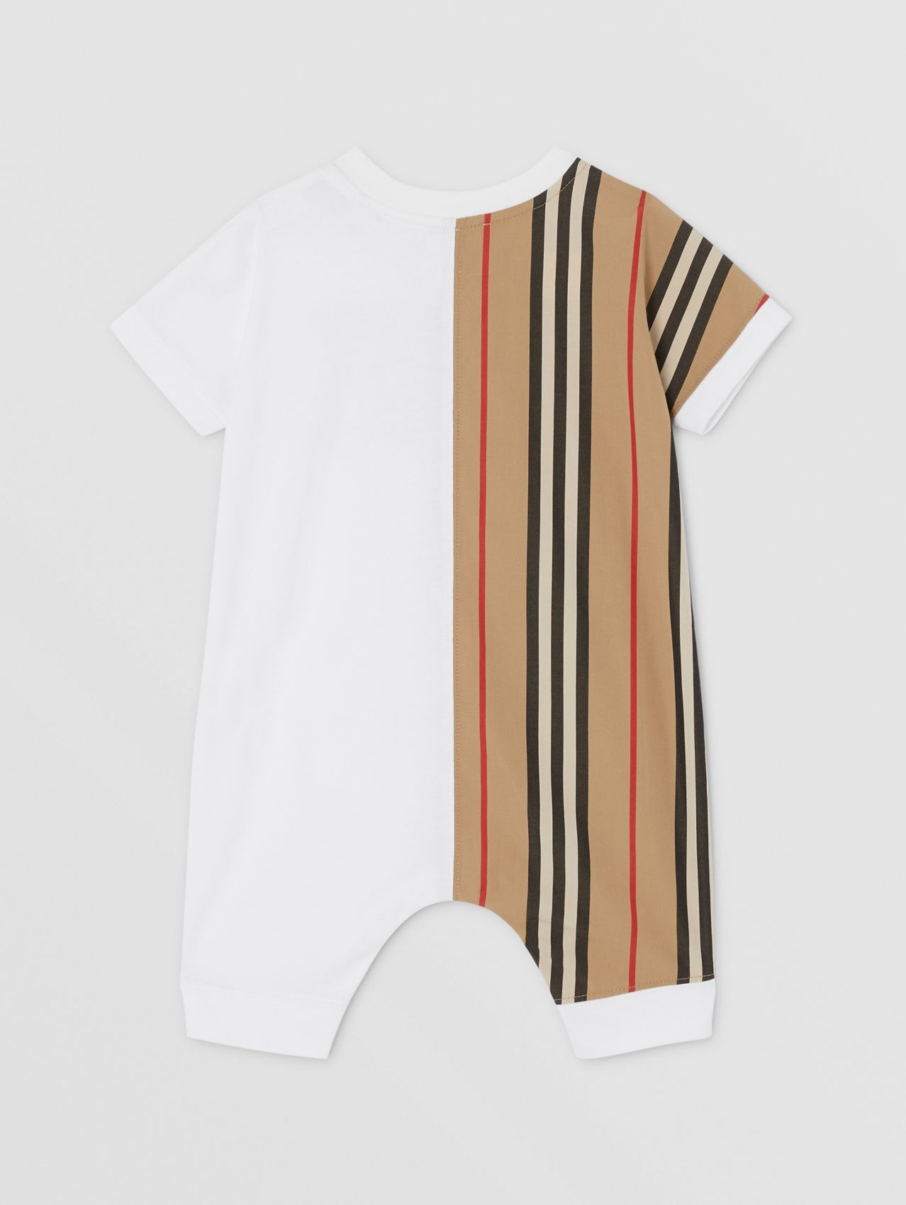 Icon Stripe Panel Organic Cotton Playsuit in White