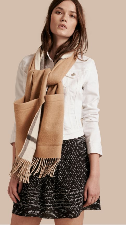 Ivory check Check Wool Cashmere Stole - Image 3