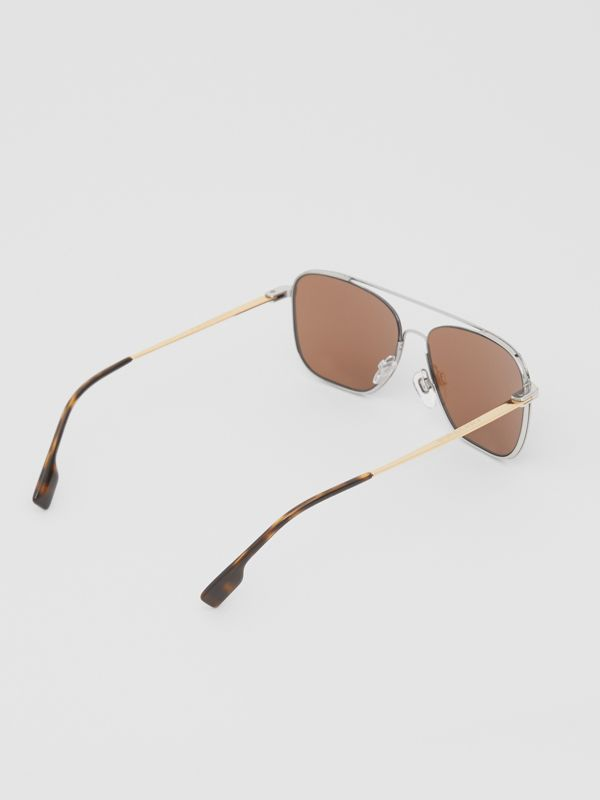 Top Bar Detail Square Frame Sunglasses in Gold | Burberry - cell image 3
