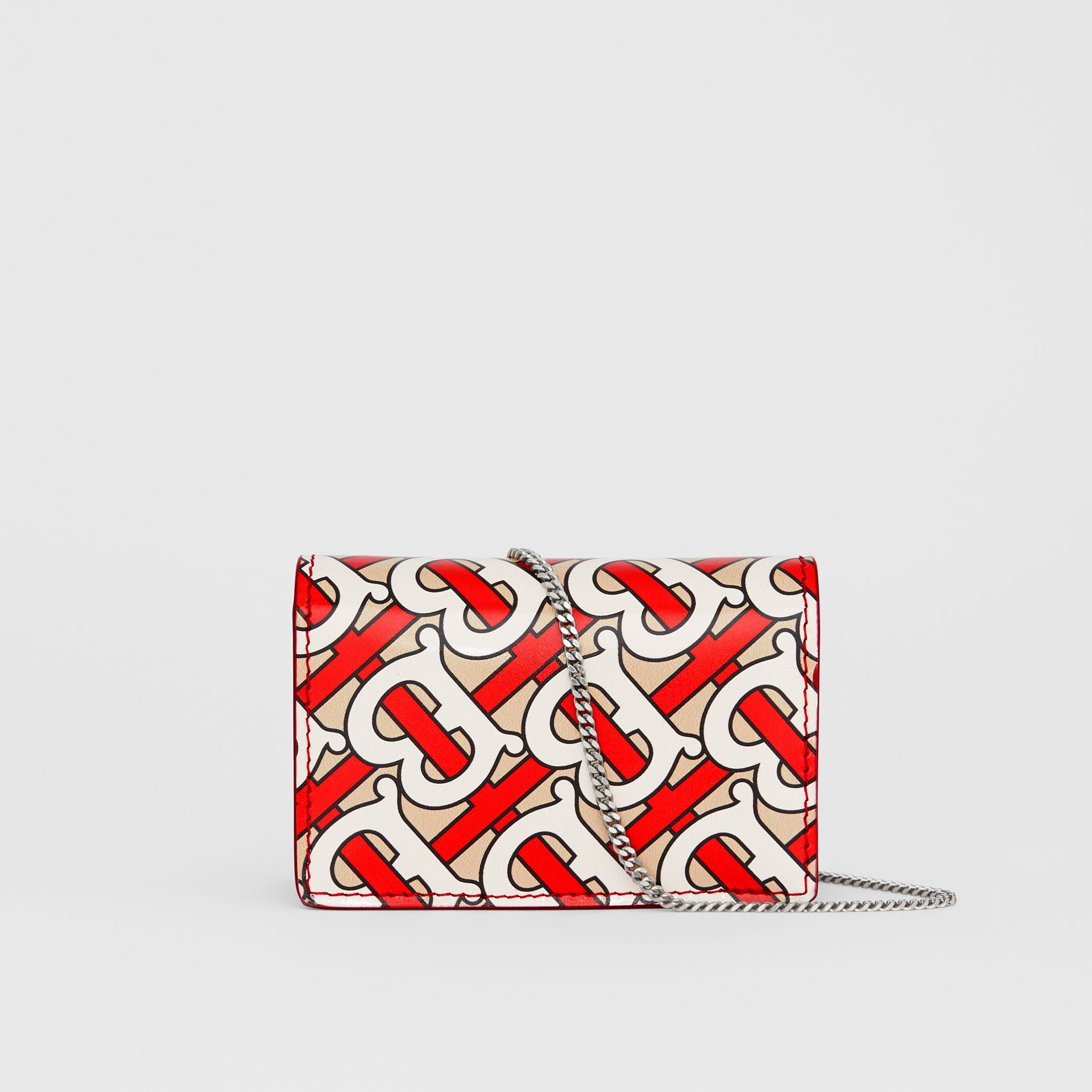 Monogram Print Card Case with Detachable Strap in Vermilion - Women | Burberry - gallery image 5