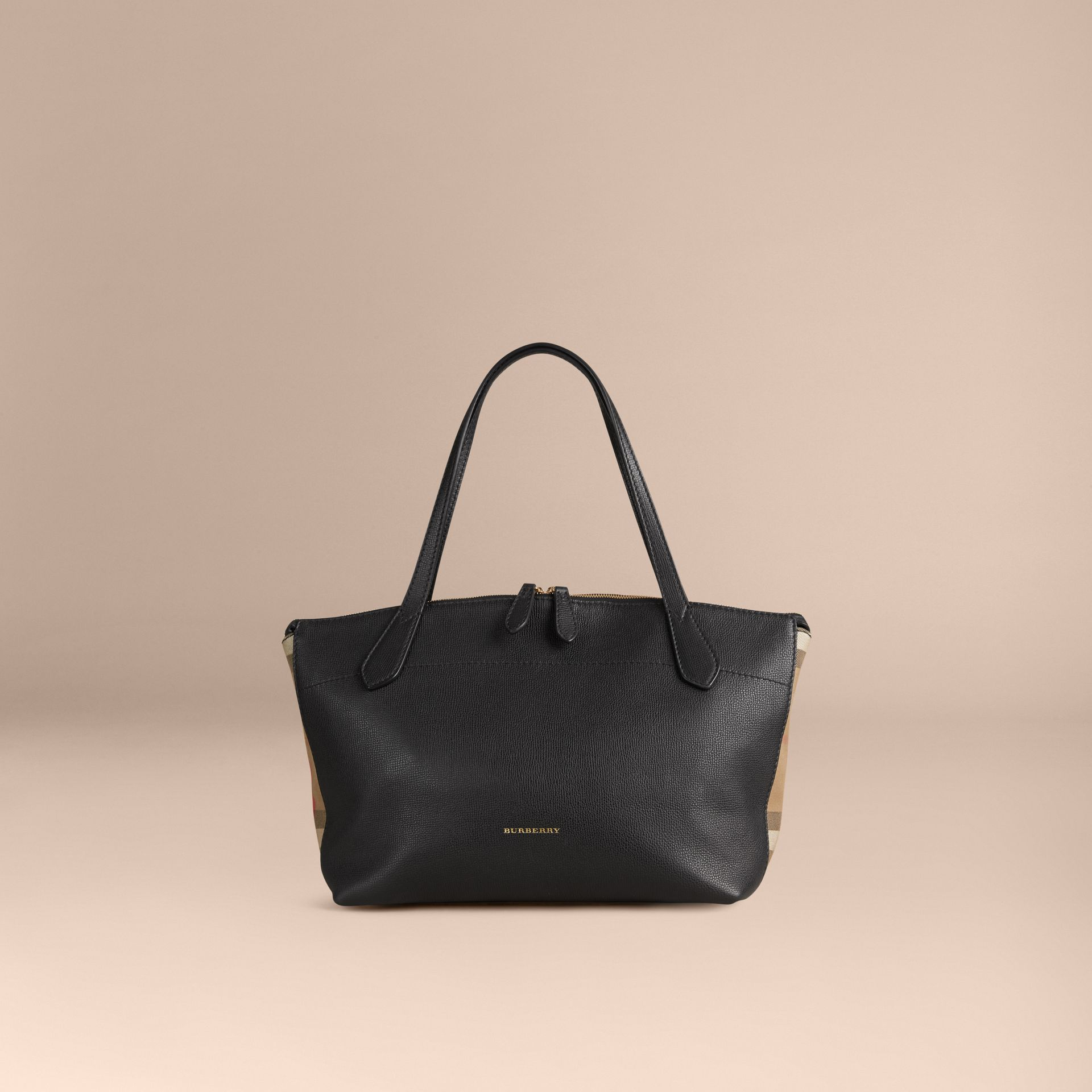 Medium Leather and House Check Tote Bag in Black - Women | Burberry - gallery image 7