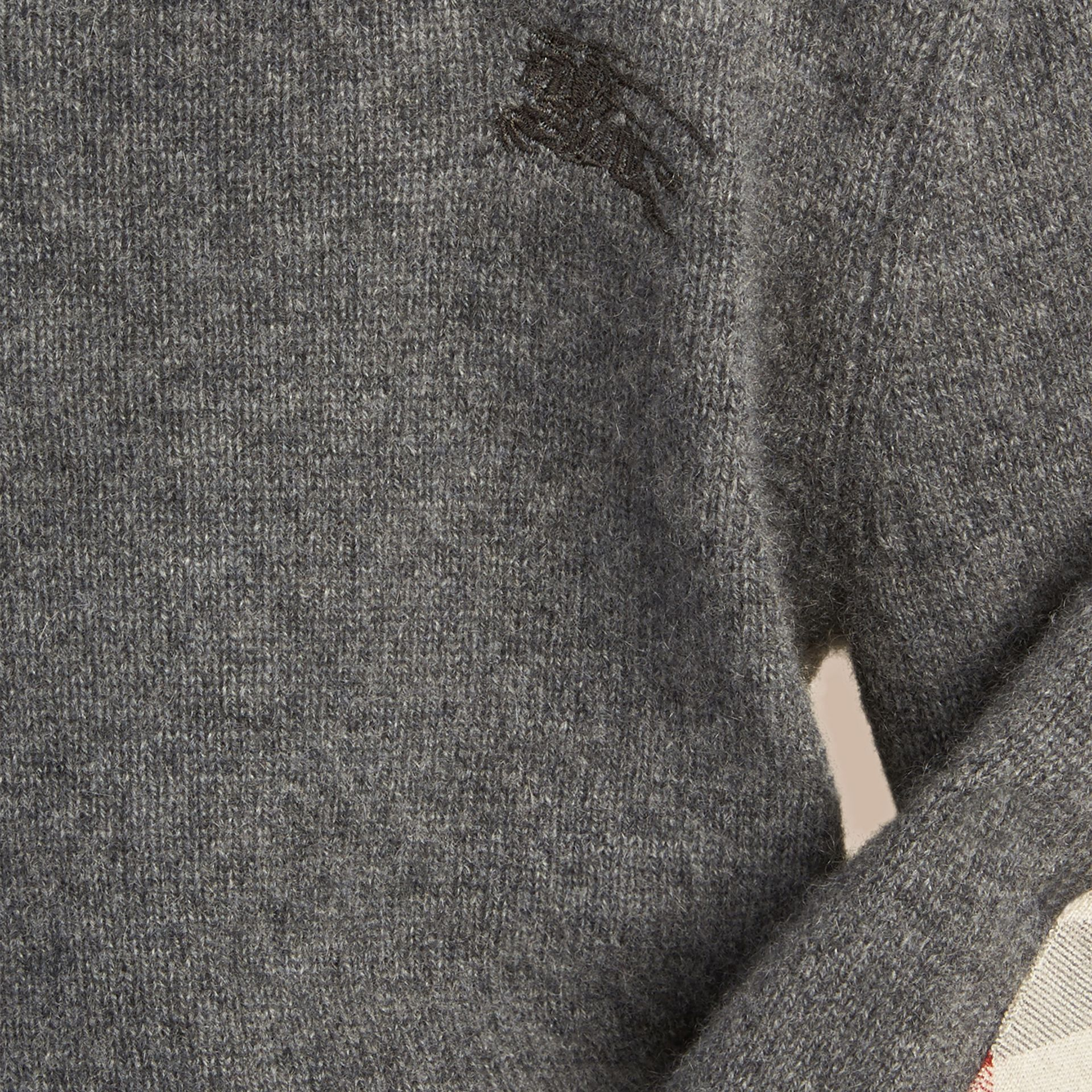Check Elbow Patch Cashmere Sweater in Mid Grey Melange - gallery image 2