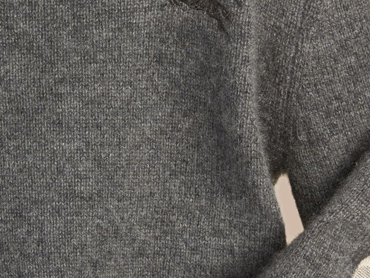 Check Elbow Patch Cashmere Sweater in Mid Grey Melange - cell image 1