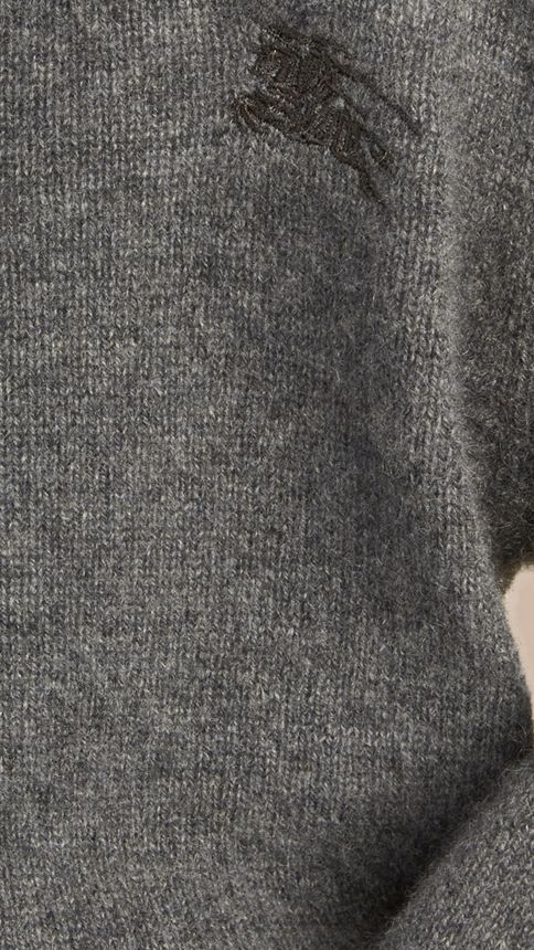 Mid grey melange Check Elbow Patch Cashmere Sweater Mid Grey Melange - Image 2