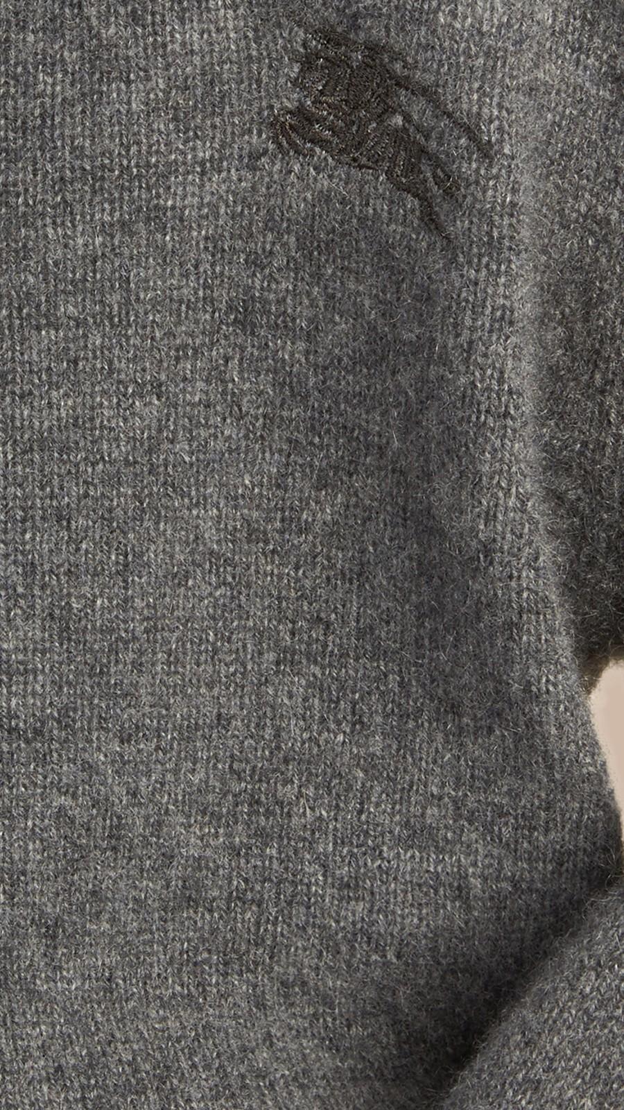Mid grey melange Check Elbow Patch Cashmere Sweater Mid Grey Melange - Image 2