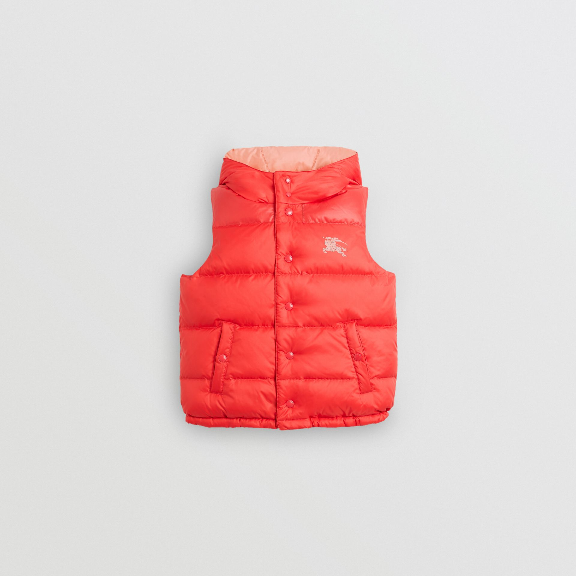 Reversible Showerproof Down-filled Hooded Gilet in Coral Pink - Children | Burberry - gallery image 0
