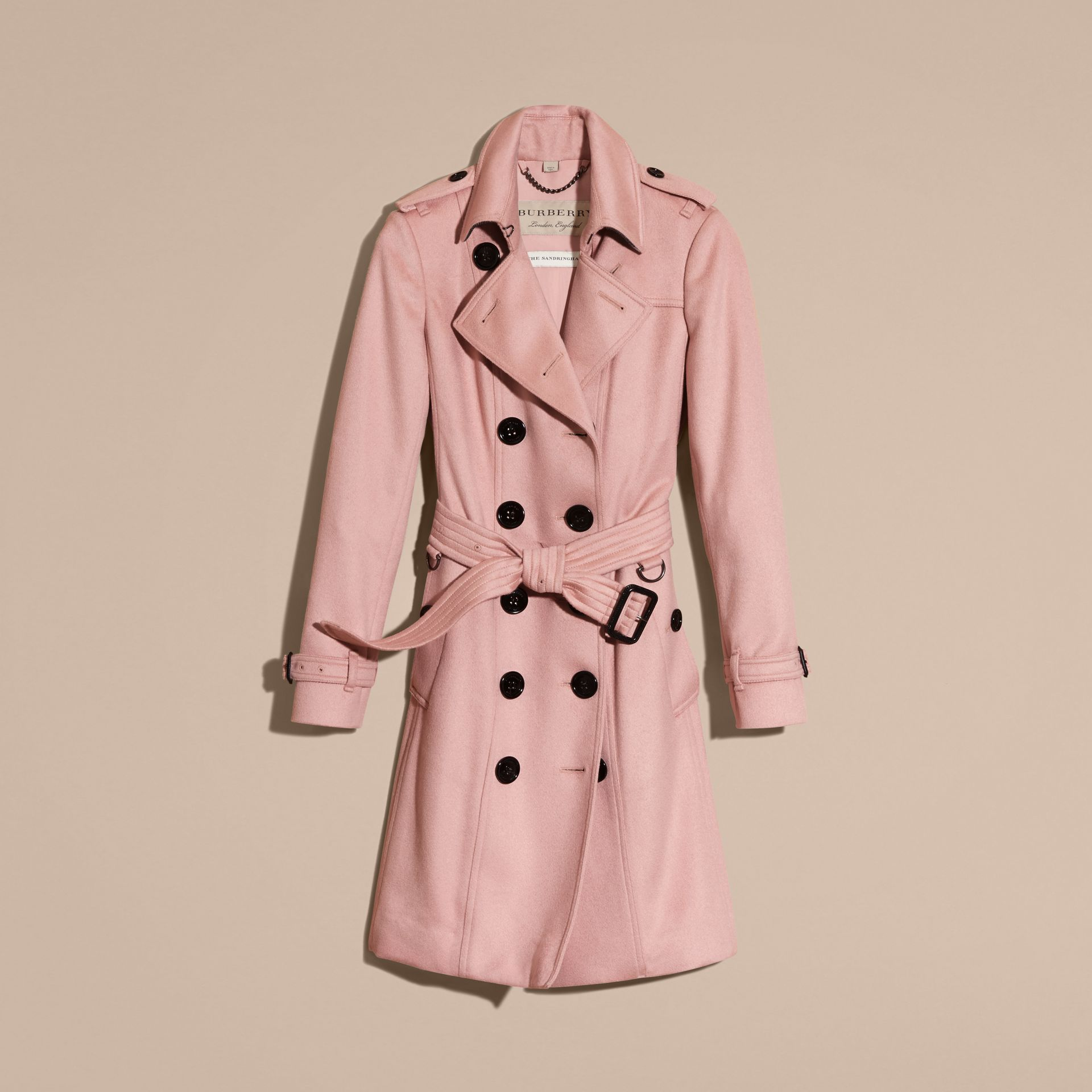Sandringham Fit Cashmere Trench Coat Chalk Pink - gallery image 4