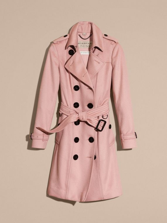 Sandringham Fit Cashmere Trench Coat Chalk Pink - cell image 3