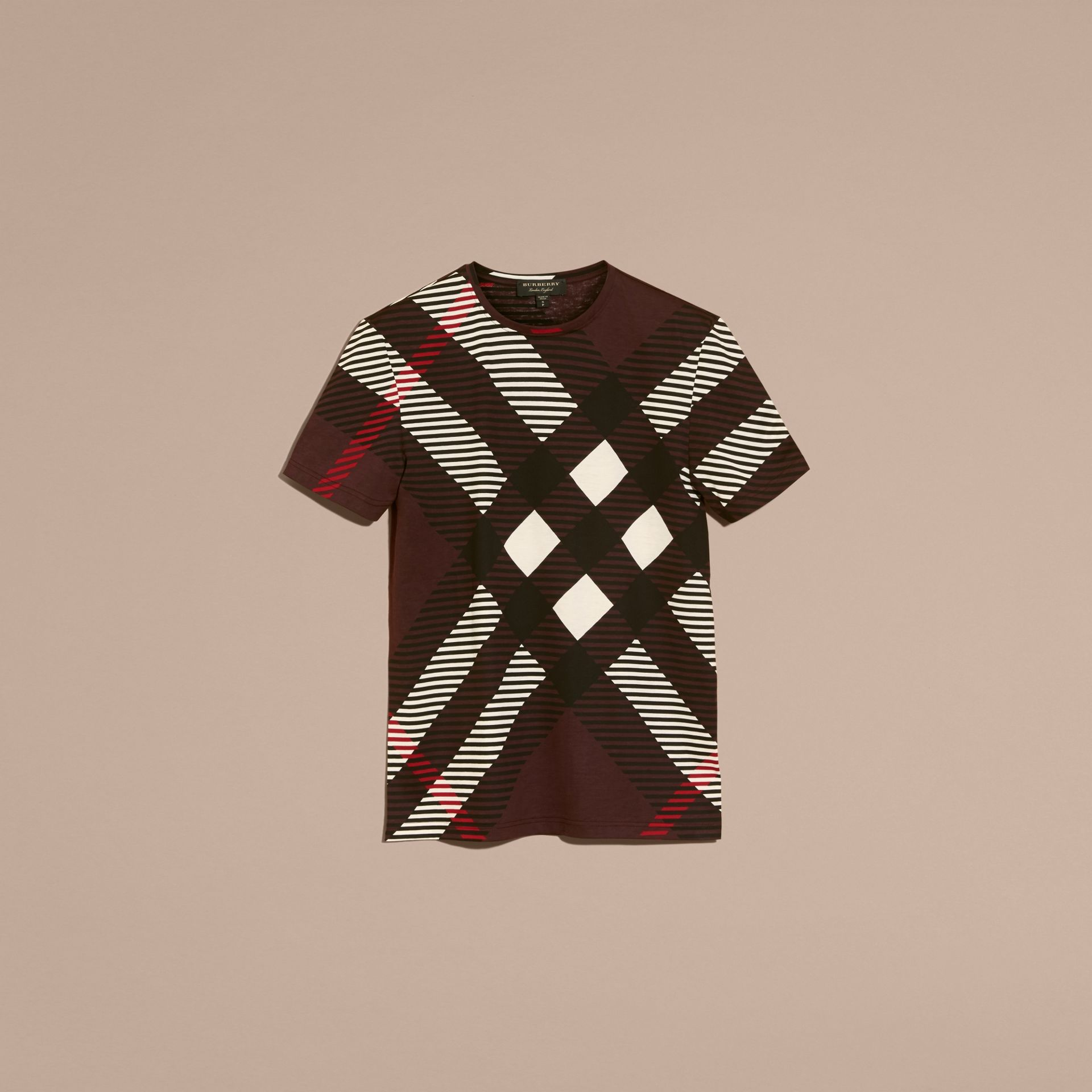 Deep claret Abstract Check Cotton T-Shirt - gallery image 4