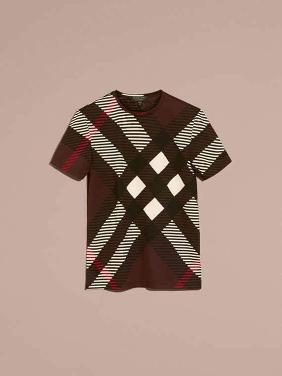 Rosso violetto intenso T-shirt in cotone con motivo check astratto - cell image 3