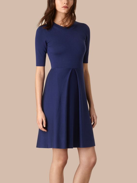 Knitted Silk Wool Dress Bright Regency Blue