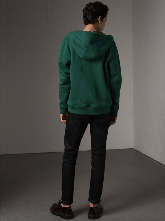 Check Detail Jersey Hooded Top in Dark Forest Green - Men | Burberry Singapore - cell image 2