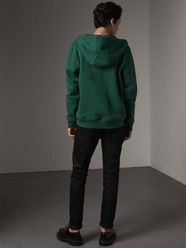 Check Detail Jersey Hooded Top in Dark Forest Green - Men | Burberry - cell image 2