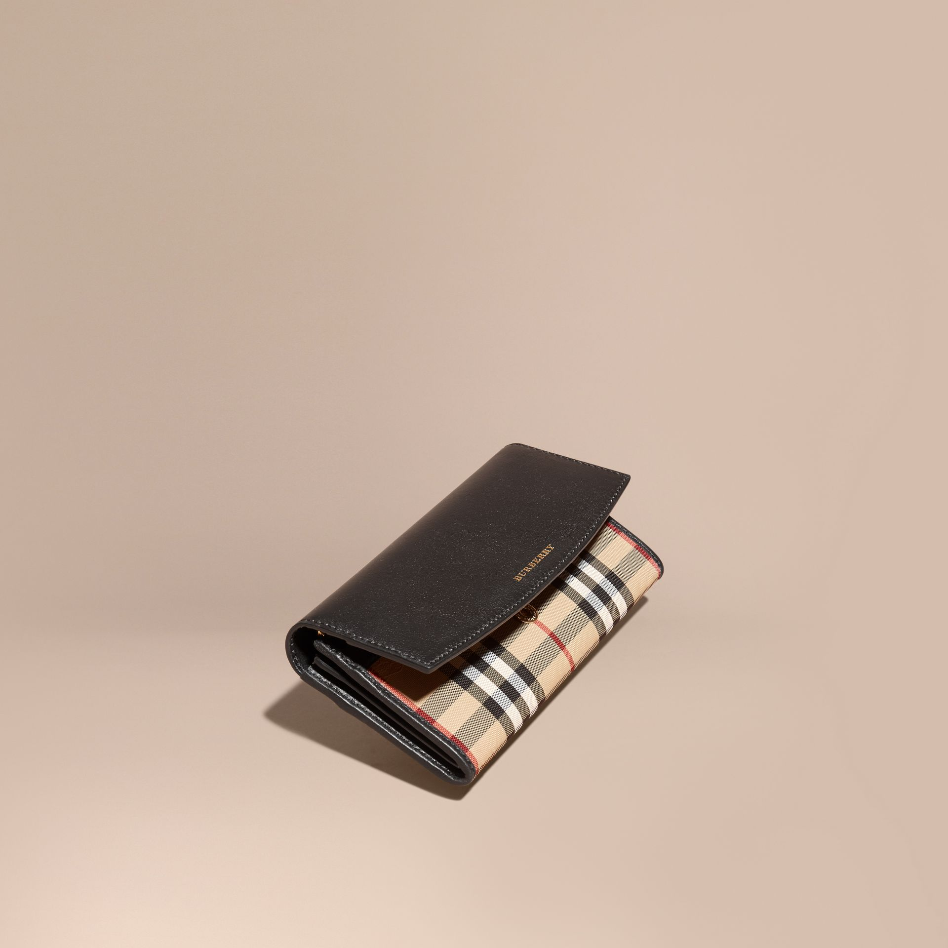 Black Horseferry Check and Leather Continental Wallet Black - gallery image 1