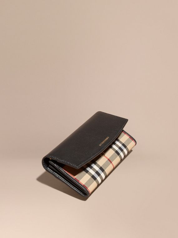 Horseferry Check and Leather Continental Wallet in Black