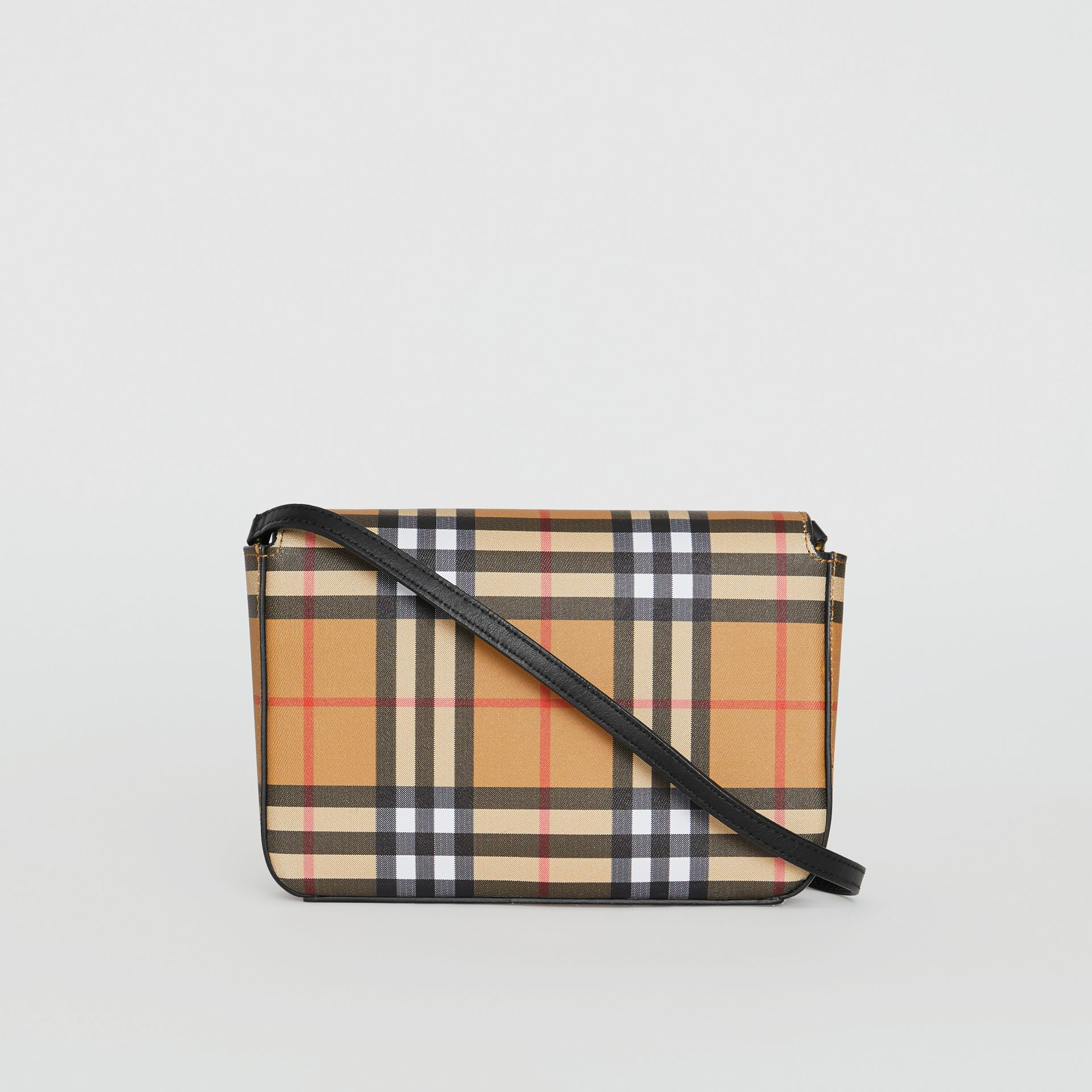 Small Vintage Check and Leather Crossbody Bag in Black - Women | Burberry - gallery image 7