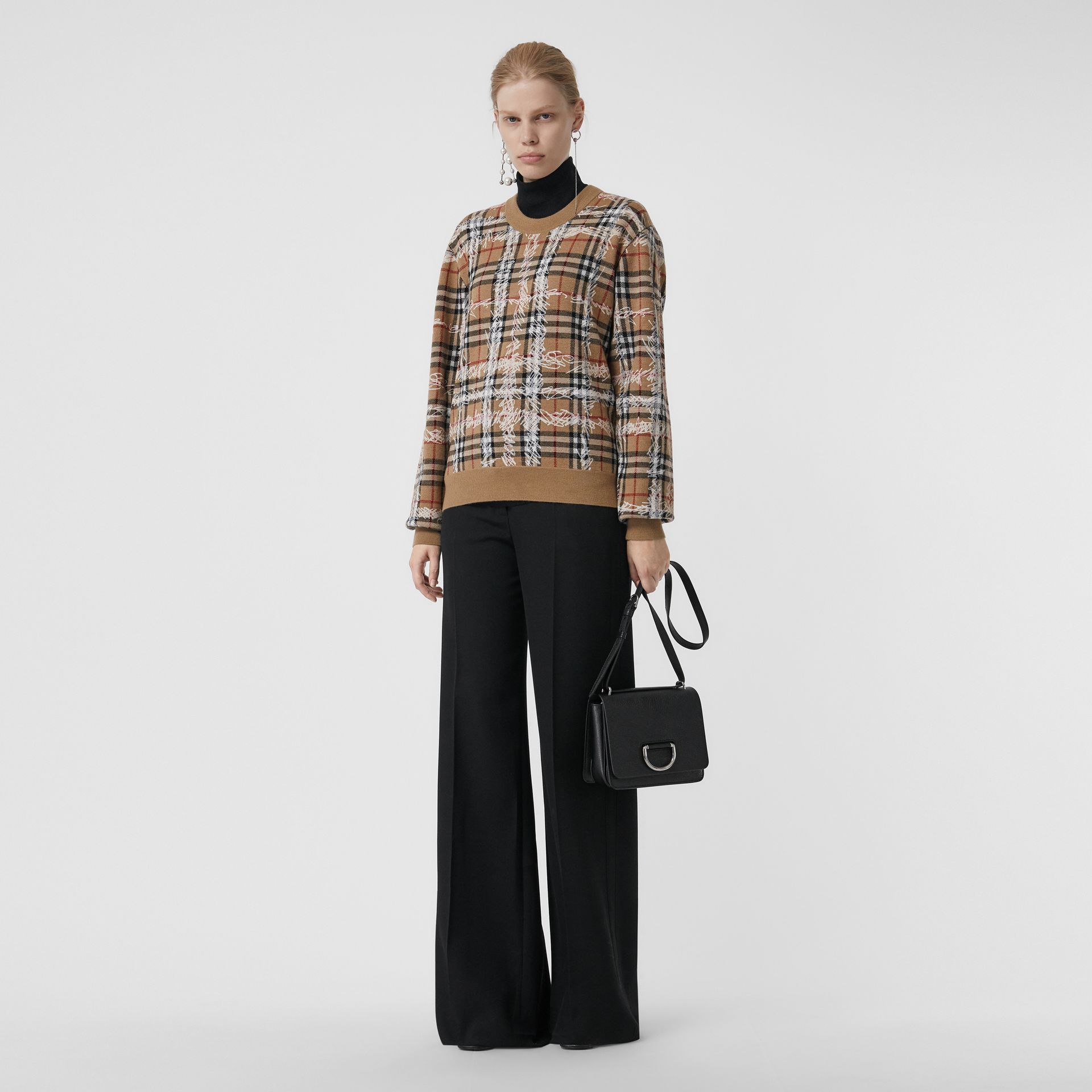 Scribble Check Merino Wool Sweater in Camel/white - Women | Burberry - gallery image 0