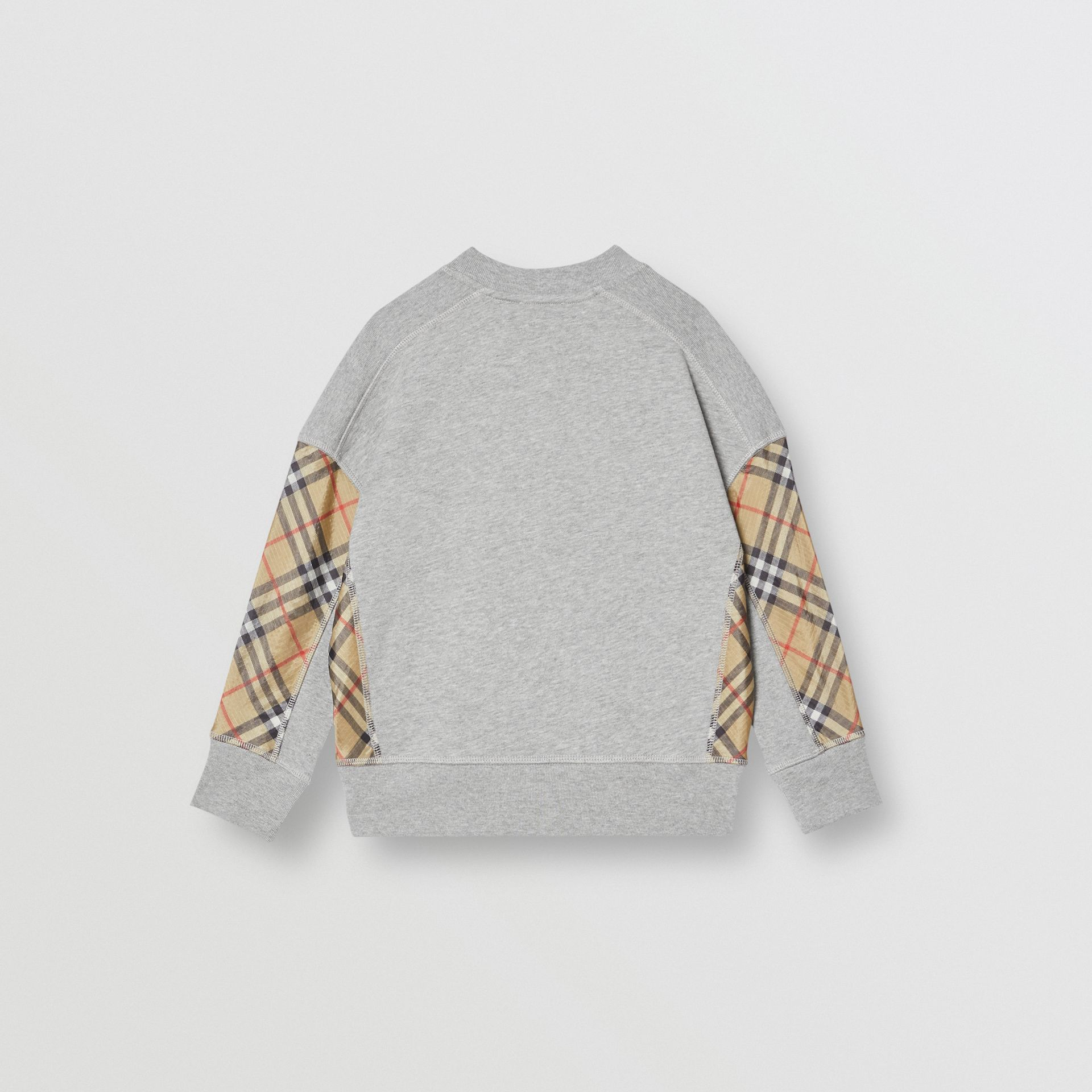 Vintage Check Panel Cotton Sweatshirt in Grey Melange - Boy | Burberry - gallery image 3