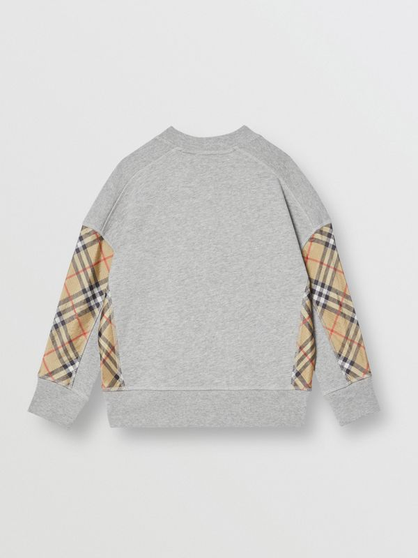 Vintage Check Panel Cotton Sweatshirt in Grey Melange - Boy | Burberry - cell image 3