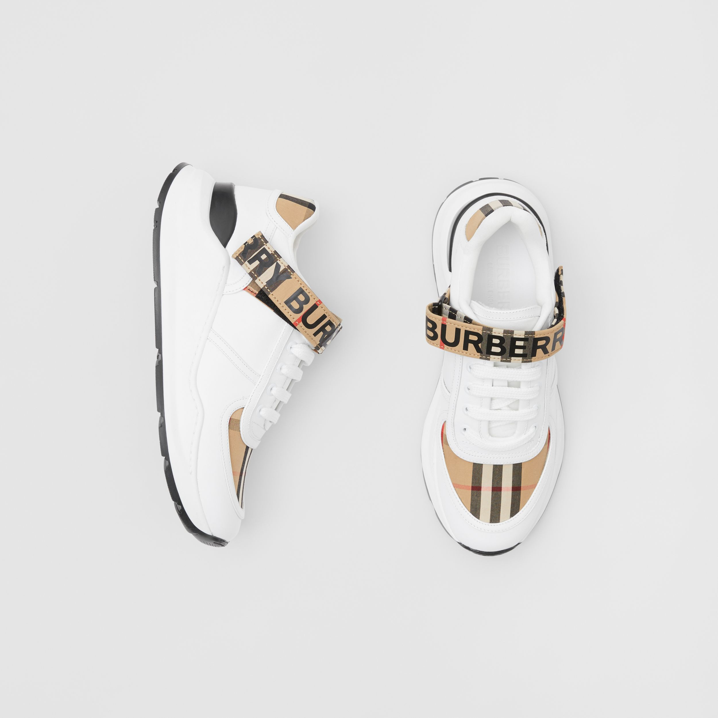 Logo Print Vintage Check and Leather Sneakers in Archive Beige - Women | Burberry - 1