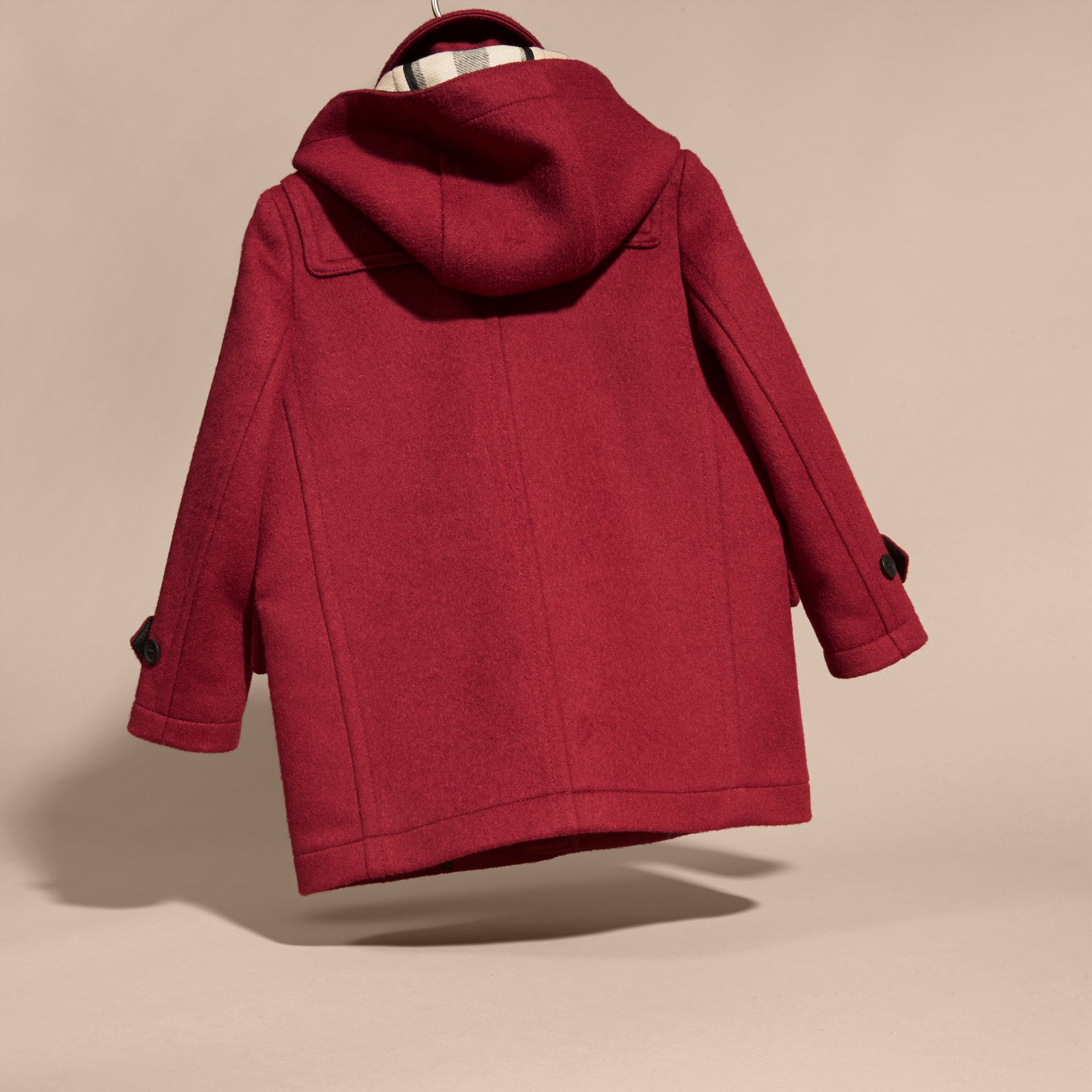 Wool Duffle Coat with Check-lined Hood - gallery image 4