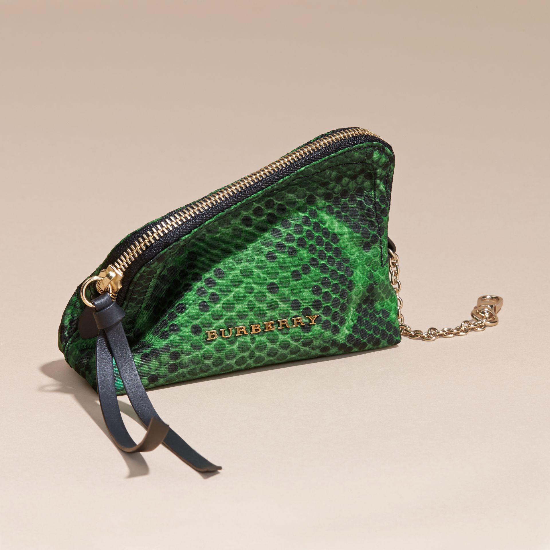 Bright green Zip-top Python-print Technical Nylon Pouch Bright Green - gallery image 3