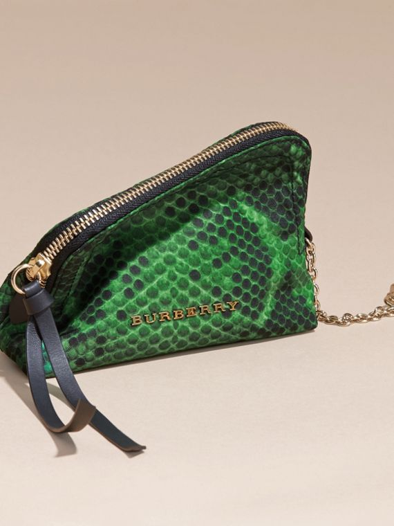 Small Zip-top Python-print Technical Nylon Pouch in Bright Green - cell image 2