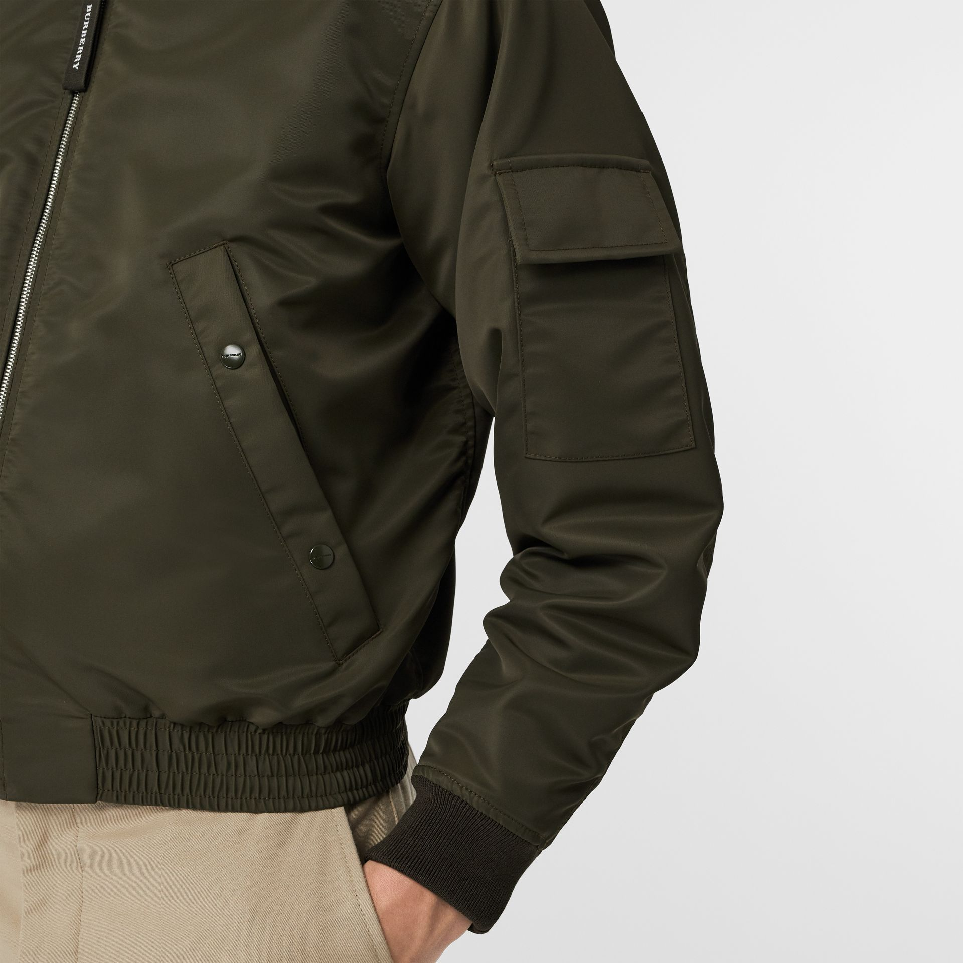 Padded Nylon Bomber Jacket in Dark Olive - Men | Burberry United Kingdom - gallery image 3