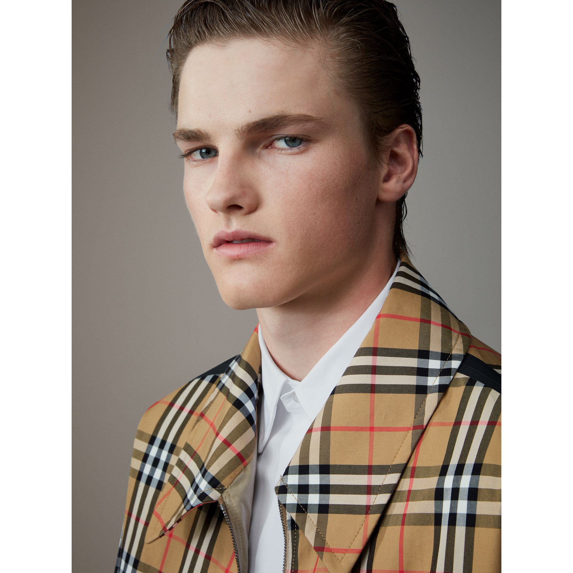 Vintage Check Gabardine Harrington Jacket in Antique Yellow - Men | Burberry United Kingdom - gallery image 1