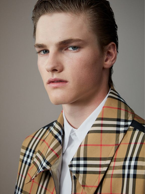 Vintage Check Gabardine Harrington Jacket in Antique Yellow - Men | Burberry United Kingdom - cell image 1