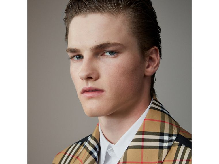 Vintage Check Gabardine Harrington Jacket in Antique Yellow - Men | Burberry - cell image 1