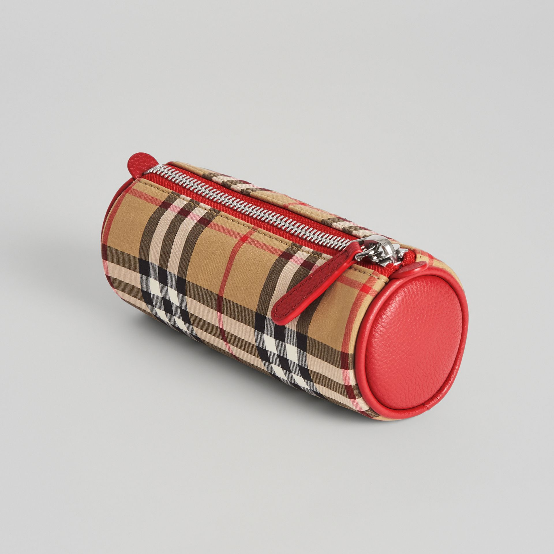 Embroidered Archive Logo Vintage Check Pencil Case in Antique Yellow | Burberry Singapore - gallery image 2
