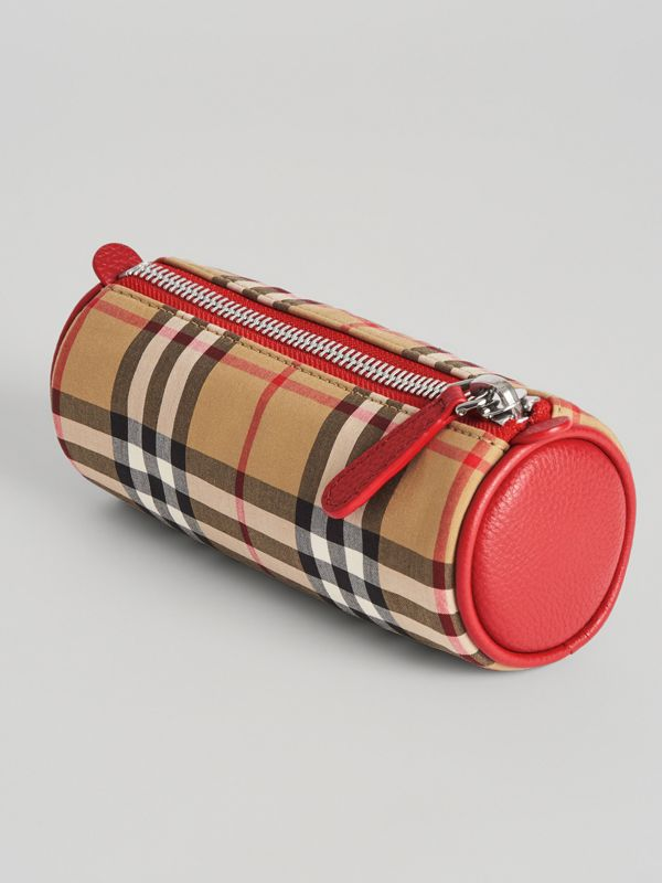 Embroidered Archive Logo Vintage Check Pencil Case in Antique Yellow | Burberry - cell image 2