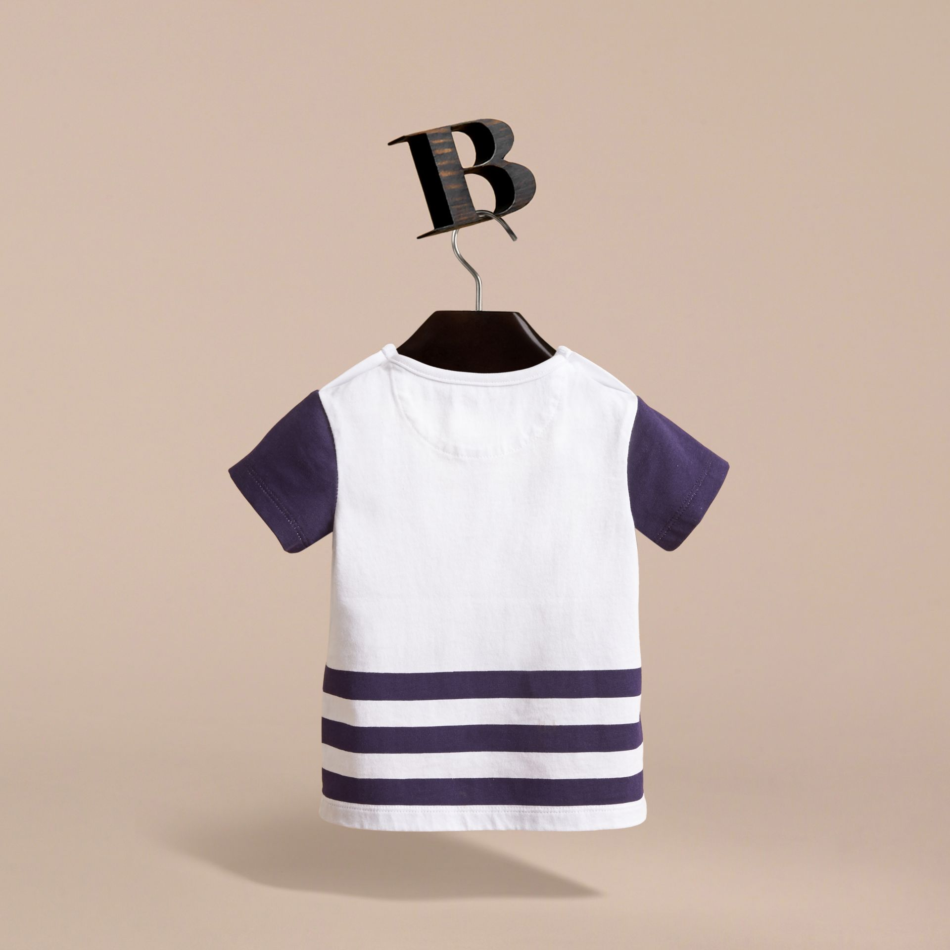 Bearded Gent Print Cotton T-shirt in Bright Navy | Burberry Singapore - gallery image 4