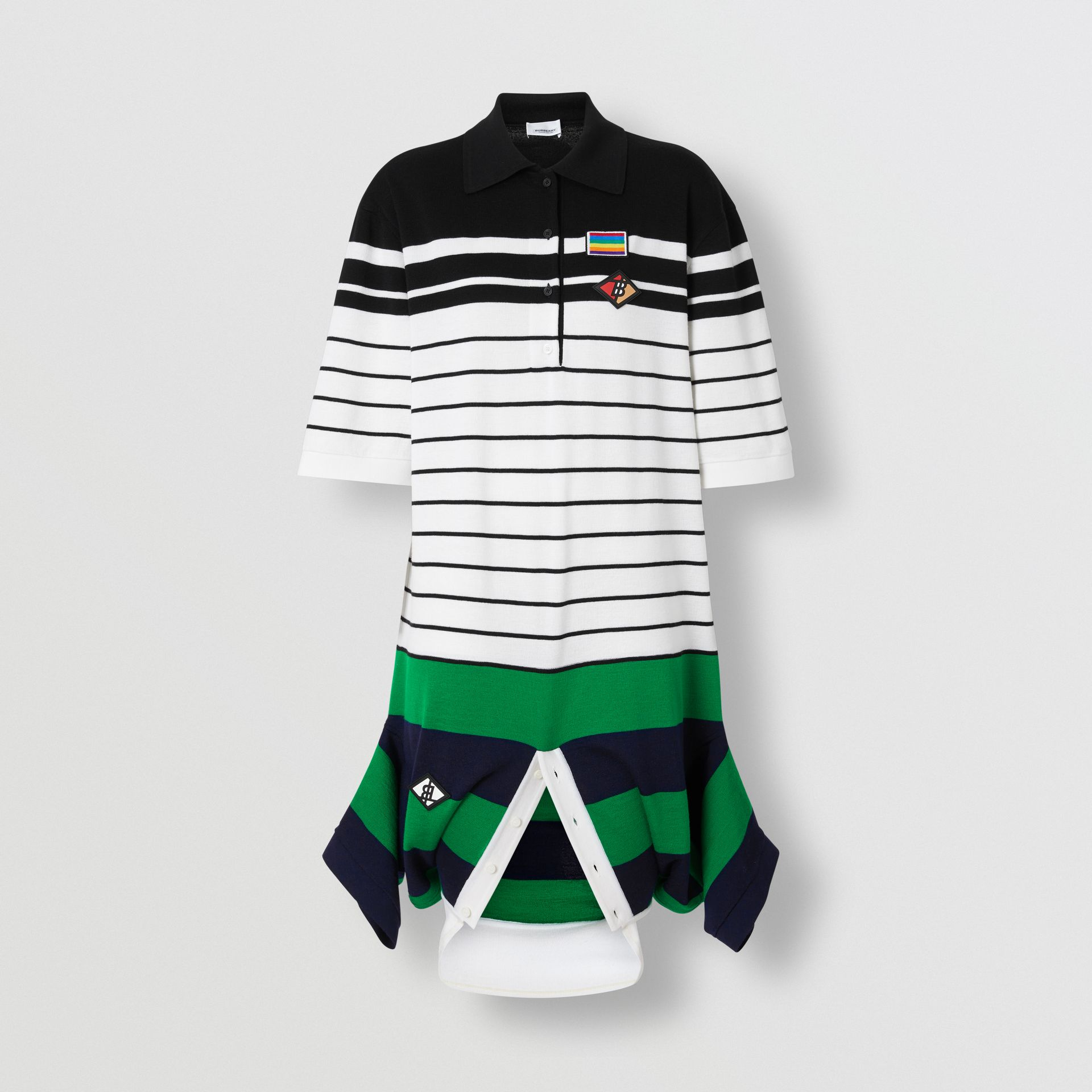Logo Graphic Wool Reconstructed Polo Shirt Dress in Natural White - Women | Burberry United States - gallery image 3