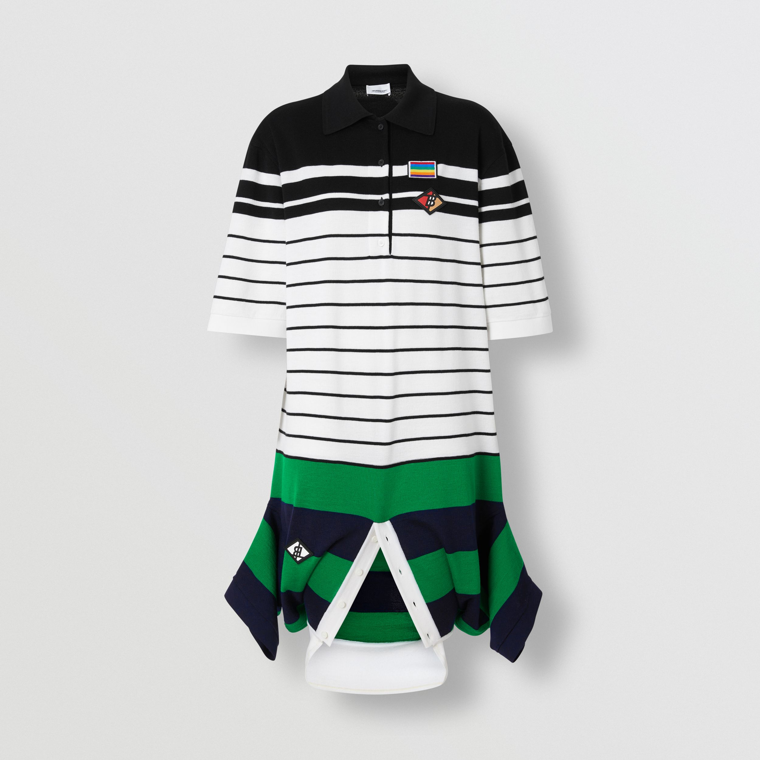 Logo Graphic Wool Reconstructed Polo Shirt Dress in Natural White - Women | Burberry United States - 4