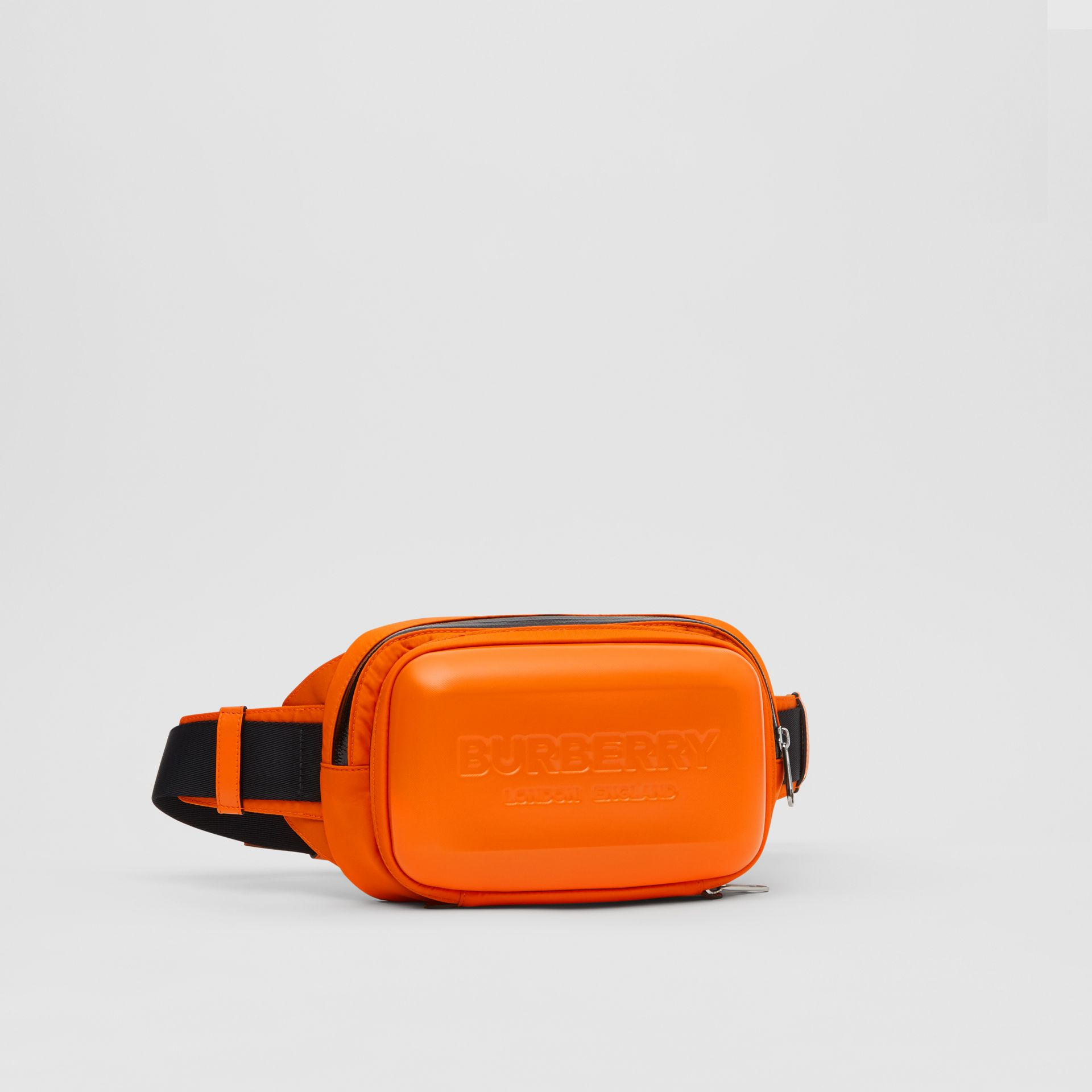 Logo Embossed Panel Nylon Bum Bag in Bright Orange - Men | Burberry United Kingdom - gallery image 4