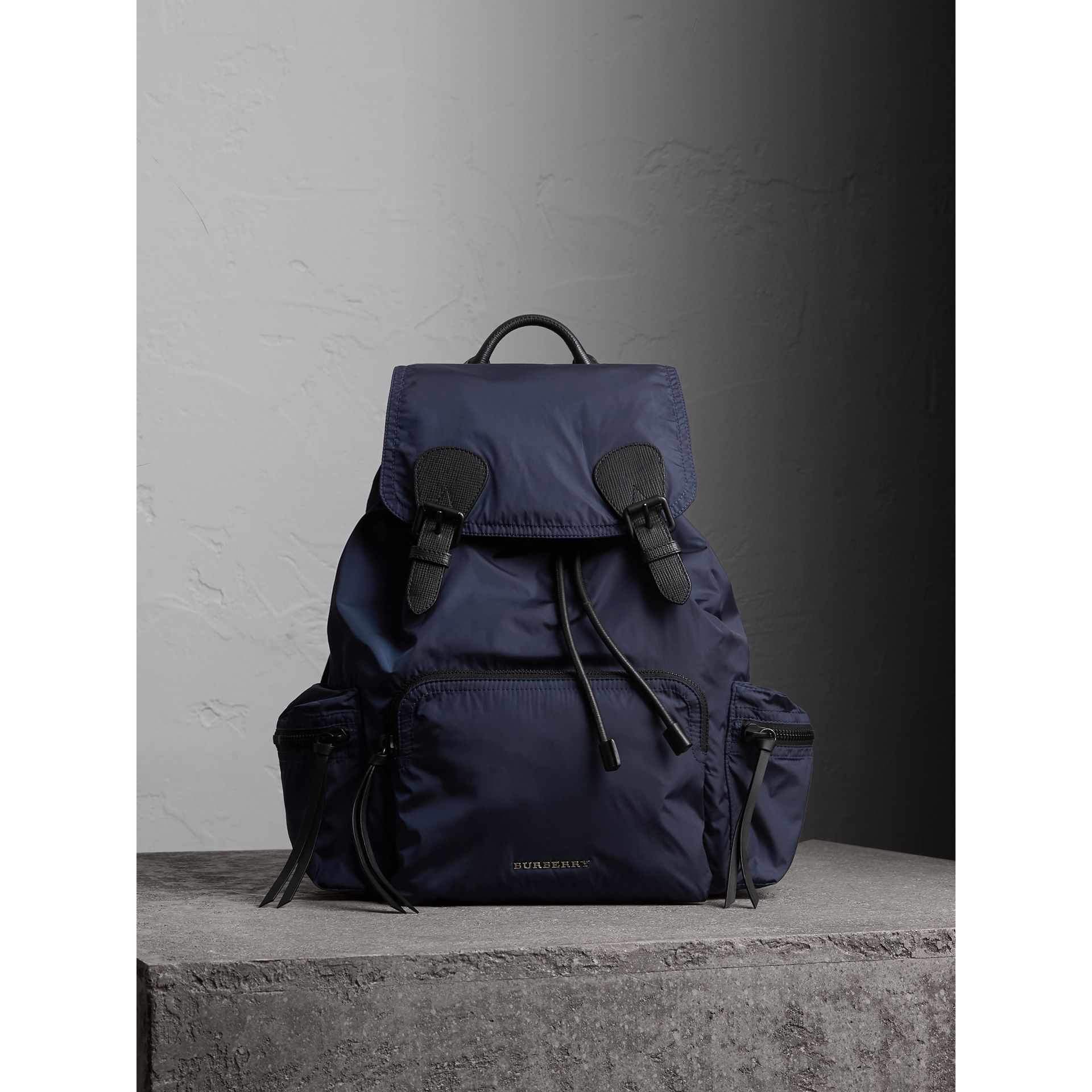 The Large Rucksack in Technical Nylon and Leather in Ink Blue - Men | Burberry - gallery image 1