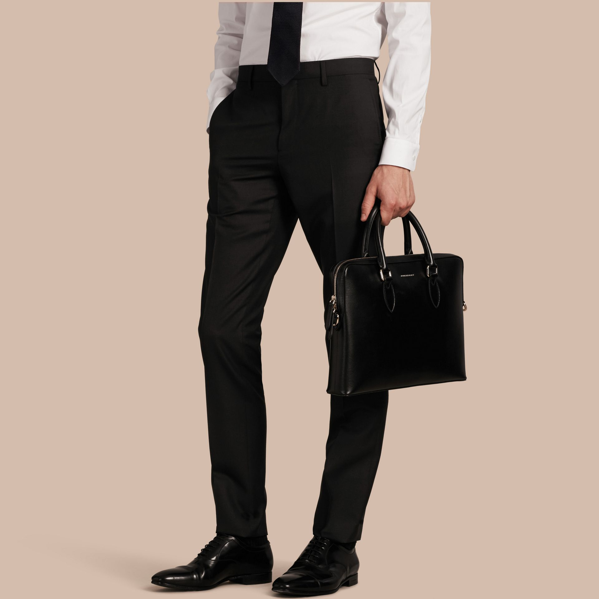 Slim Fit Wool Trousers Black - gallery image 1